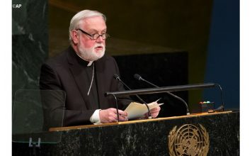 Archbishop Paul Gallagher, the Holy See's Secretary for Relations with States, addressing the UN General Assembly in New York - AP