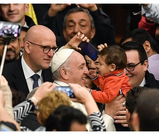 Pope Francis arrives at the Paul VI Hall for the weekly General Audience - AFP