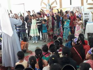 Children performing action song