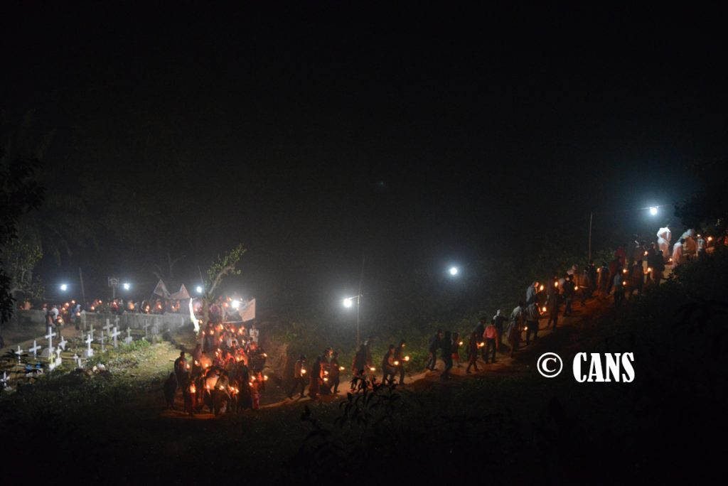 Candle light procession of Marian Pilgrimage in Diang
