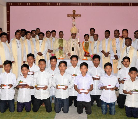 1st 12 seminarians of the seminary with Archbishop and Other Priests
