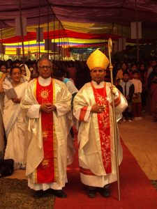 Father Philip with Bishop Subrato in Marian Pilgrimage, Diang- 2011
