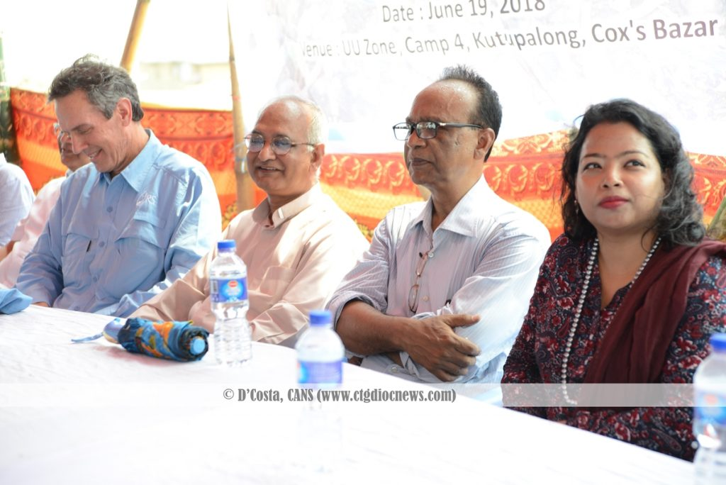 (L-R) Sean Callahan, Archbishop Moses Costa CSC, Francis Atul Sarkar, Amrita Rozario during the 'Share a meal' campaign