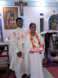 Sr. Renu Costa, RNDM with the priest in-charge of Luxmipur, Fr. Robert Gonsalves