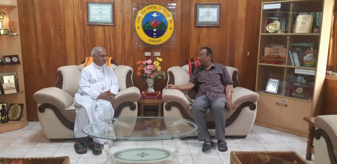 Archbishop Moses Costa CSC makes courtesy visit to the Chairman of Zila Parishad of Bandarban Hill District