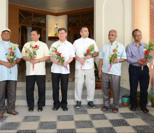 From Left: Fr. Gordon Dias, Bp. Gervas Rozario, Cardinal Charles Bo, Cardinal Luis Tagle, Msgr. Alvaro Izurieta, Abp. Moses Costa, csc, Mr. Atul Palma, Mr. James Gomes