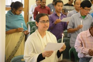 Participants and guests reciting pastoral oath for 2020